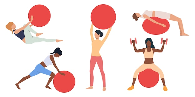 Set of women exercising with swiss balls Free Vector