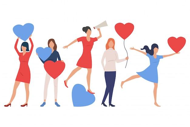 Set of women in love Free Vector