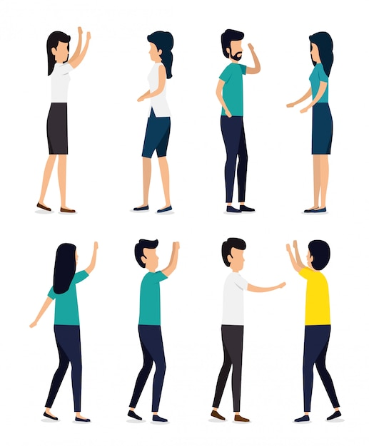 Set women and men people with hairstyle Free Vector