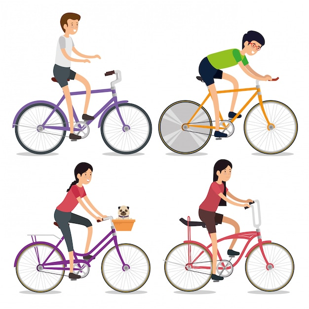Set women and men riding a bicycle sport Free Vector