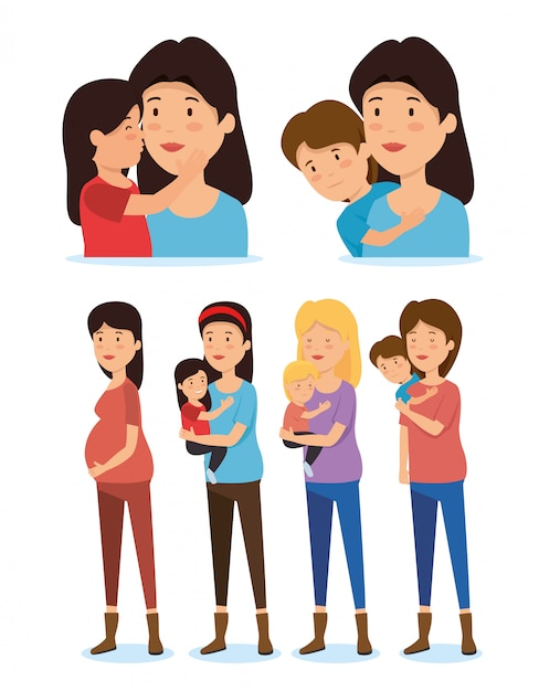 Set women mothers with son and daugher Free Vector