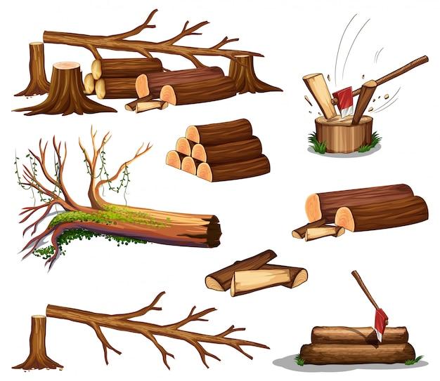 A set of wood cut Premium Vector