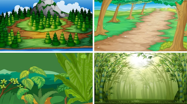 Set of wood scenes background Free Vector