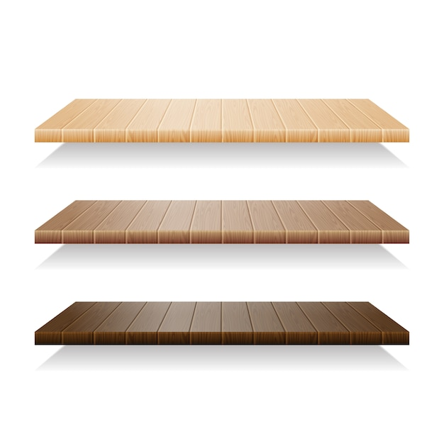 Set of wood shelves on white background Premium Vector