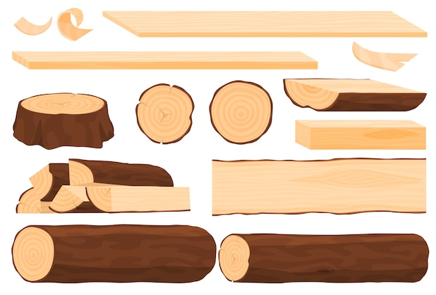 Set of wood, wooden boards, stumps, logs, wood slices. Premium Vector