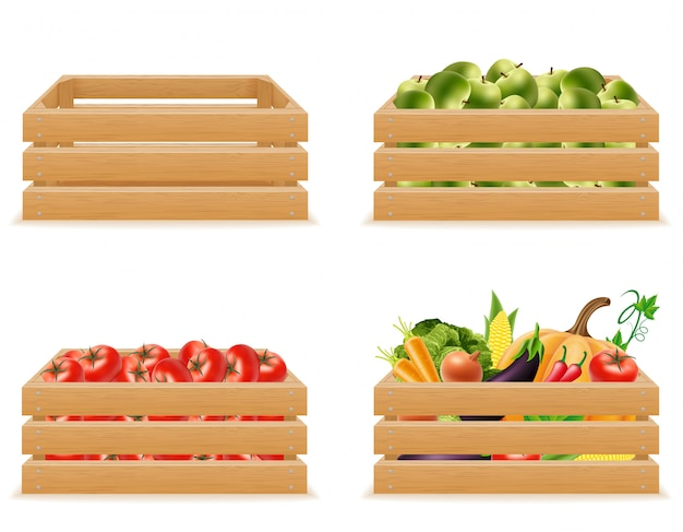 Set wooden box with fresh and healthy vegetables vector illustration Premium Vector