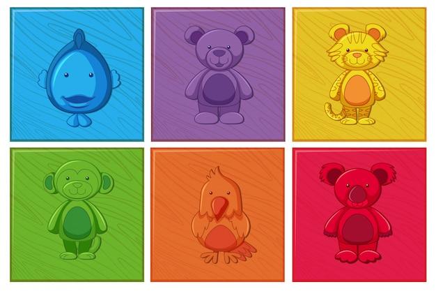 Set di personaggio dei cartoni animati in legno Vettore gratuito