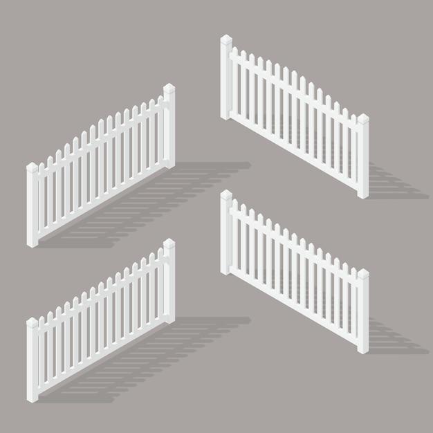 Set of wooden fence Premium Vector