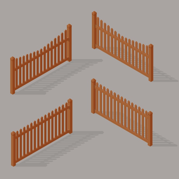Set of wooden fence Premium Vector