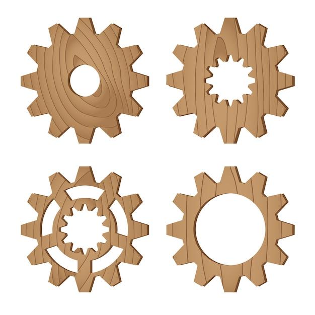 Set of wooden gear wheels on white, vector illustration Premium Vector