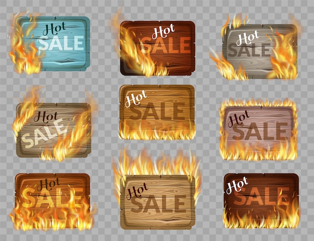 Set of wooden panels decorated with flame burn. Premium Vector