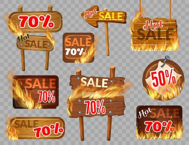 화염 화상으로 나무 판넬 뜨거운 판매를 설정하십시오. 프리미엄 벡터