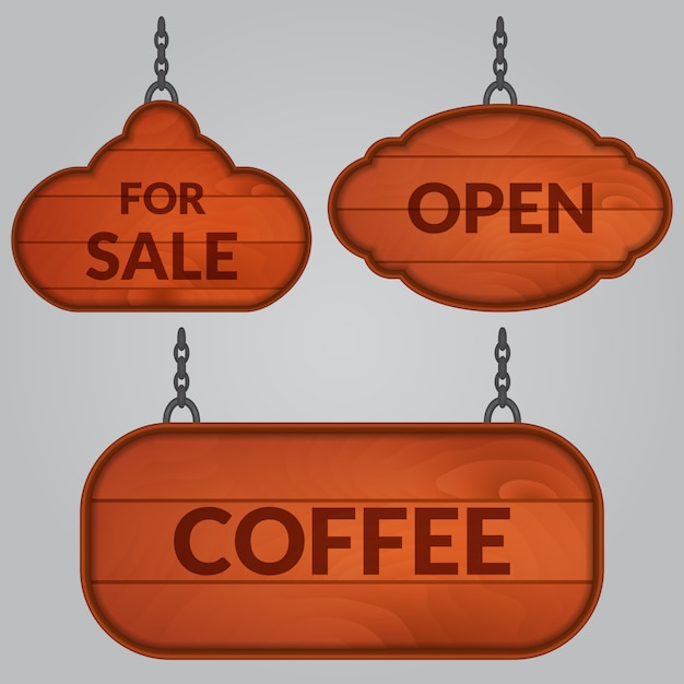 Set of wooden sign on the chains Premium Vector