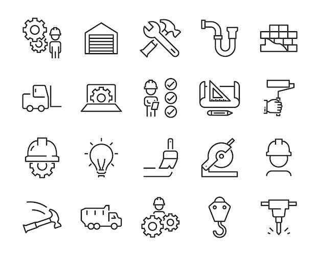 Set of work icons Premium Vector