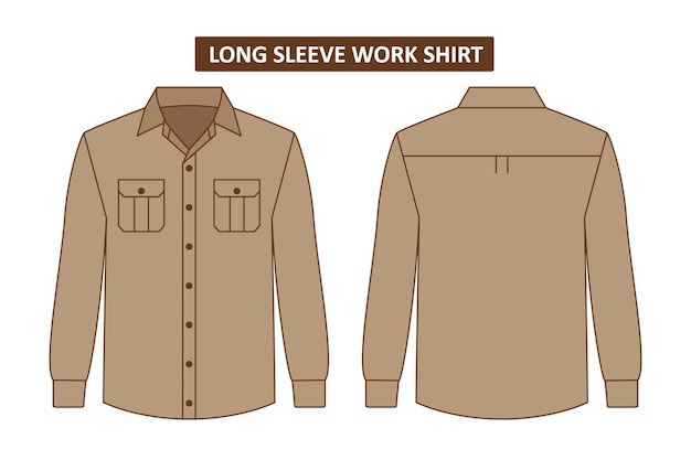 Set of work shirt with pocket Premium Vector