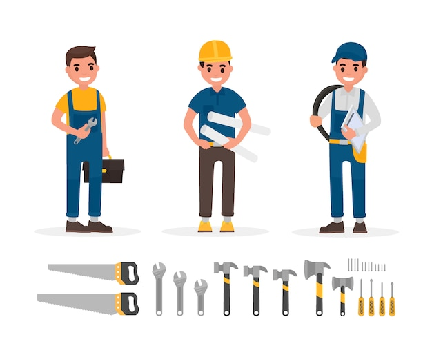 Set of worker and hand tool elements in flat style illustration. Premium Vector