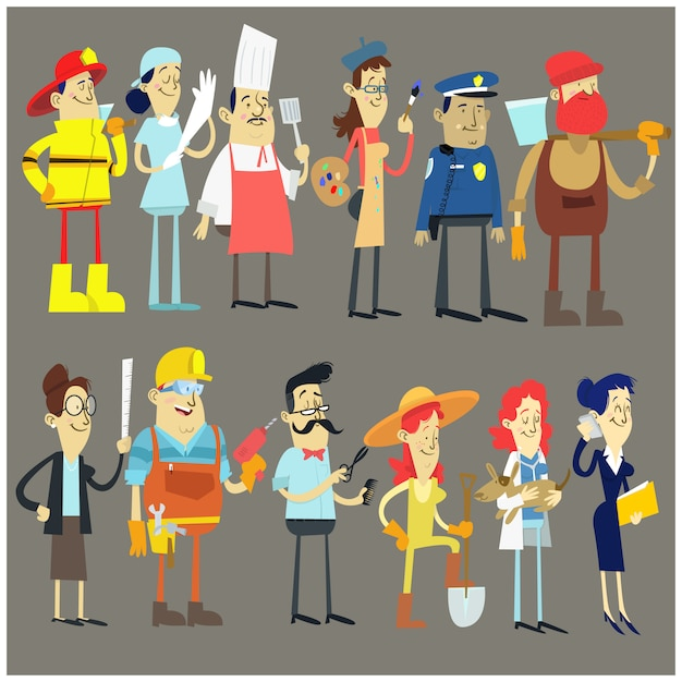 Set workers profession collection Premium Vector