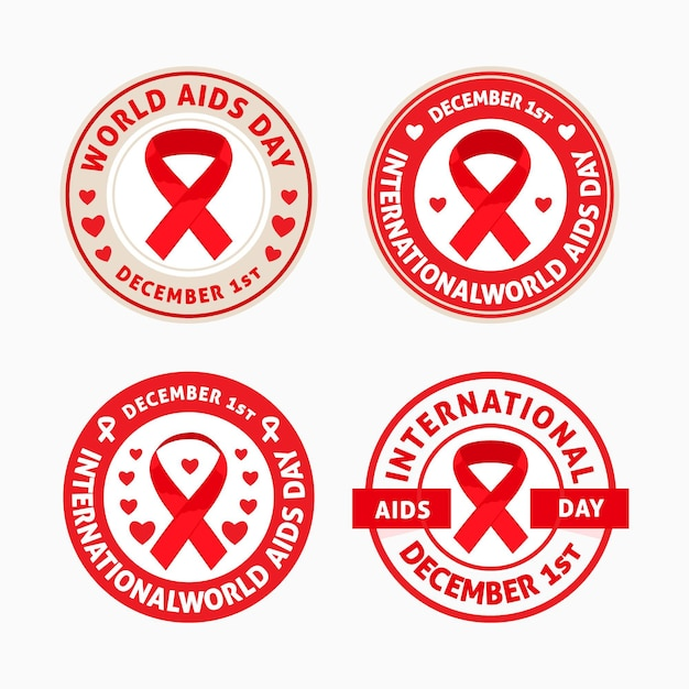 Set of world aids day badges with red ribbons Free Vector