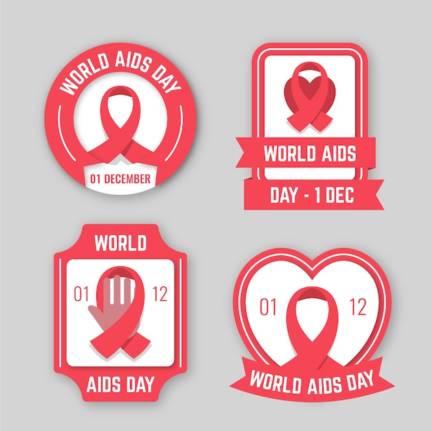 Set of world aids day badges Free Vector