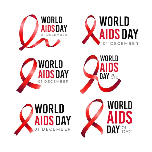 Set of world aids day labels Free Vector