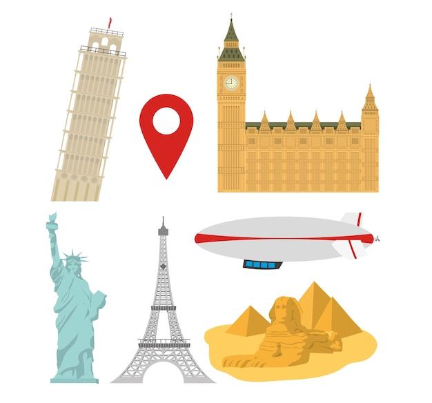 Set of world monuments Premium Vector