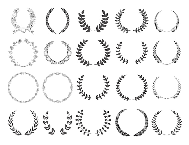 Set of  wreaths.  elements for logo, label, emblem, sign, badge. vector illustration. Premium Vector