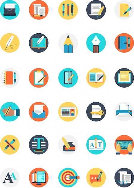 Set of writer icon with many colour and type Premium Vector