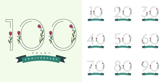 Set of years anniversary with flowers illustraion template Premium Vector