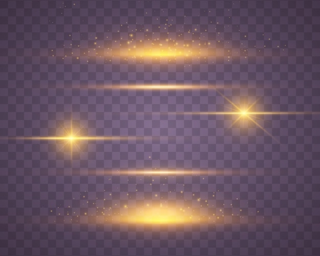 Set of yellow, gold glowing light explodes on transparency Premium Vector