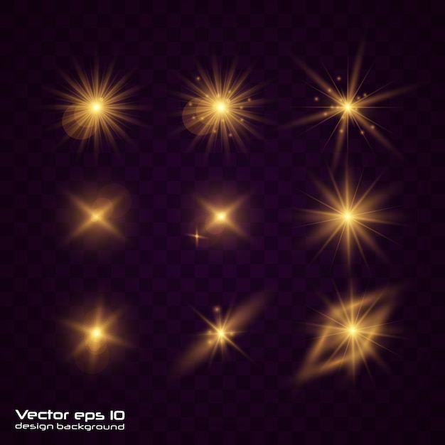 Set of yellow gold glowing light explodes on transparent. Premium Vector