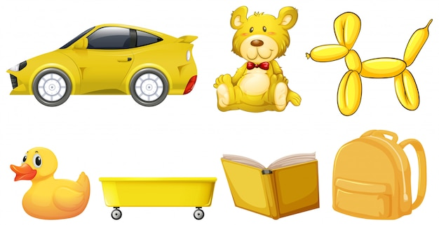 Set of yellow objects Free Vector