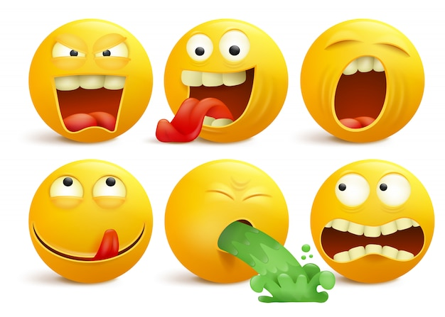 Set of yellow smiley face emoticon cartoon characters. Premium Vector