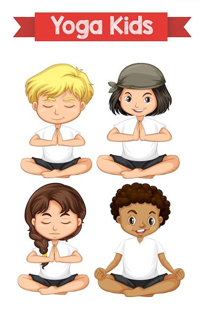Set of yoga kids Premium Vector