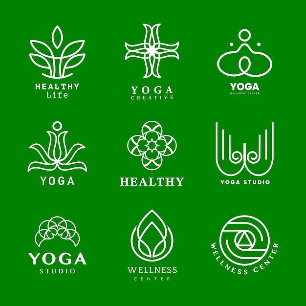 Set of yoga logo vector Free Vector