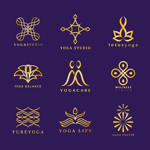Set of yoga logo vector Free Vector