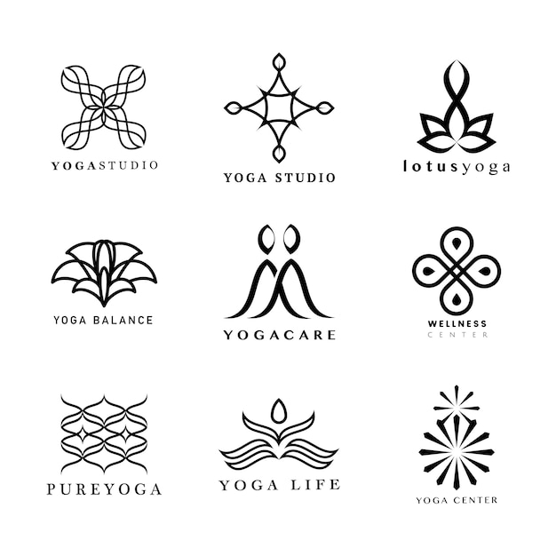 Set of yoga logo Free Vector