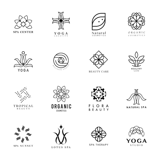 Set of yoga and spa logo vector Free Vector
