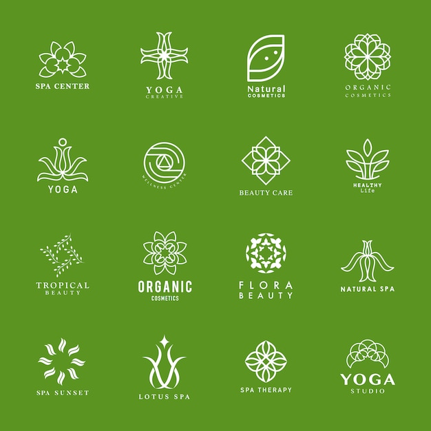 Set of yoga and spa logo Free Vector