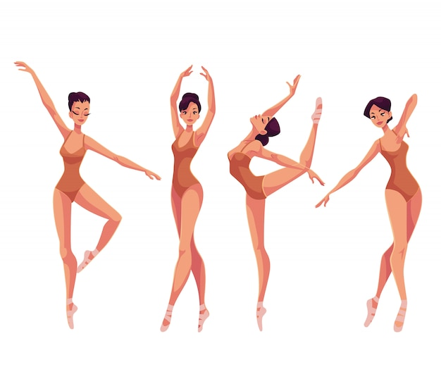 Set of young beautiful dancers in tights and ballet slippers Premium Vector