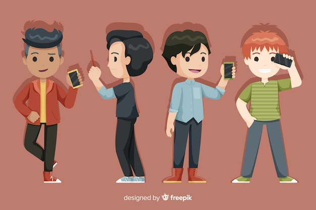 Set of young boys holding smartphones Free Vector