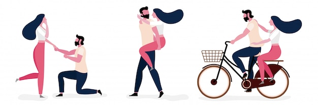 Set of young couple lifestyle in love together Premium Vector