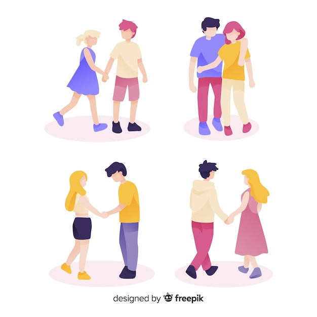 Set of young couples walking Free Vector
