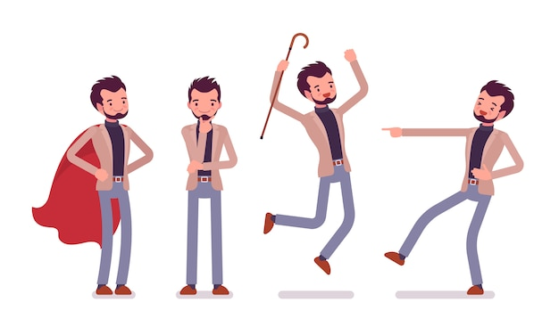 Set of young dandy showing positive emotions Premium Vector