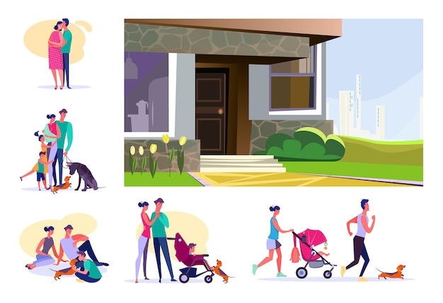 Set of young families spending time together Free Vector