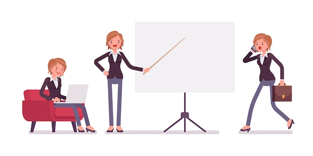 Set of young female handsome manager sitting, vaping, pointing, walking Premium Vector