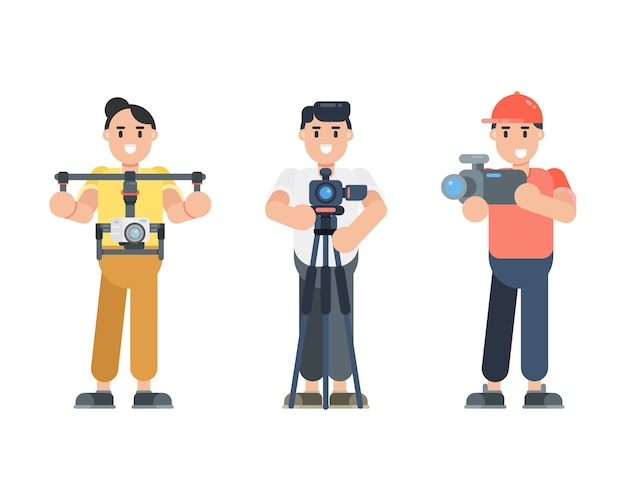 Set of young man characters holding camera. photographer, cinematographer, vlogger characters in flat style. Premium Vector