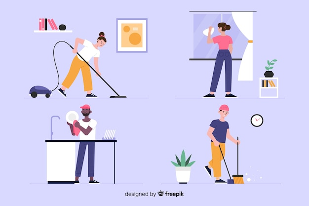 Set of young people cleaning the house Free Vector