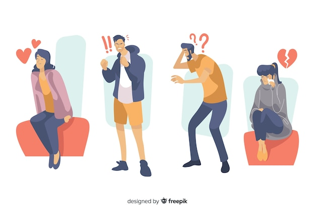 Set of young people emotions Free Vector