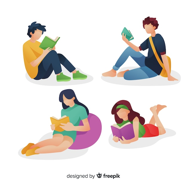 Set of young people reading Free Vector