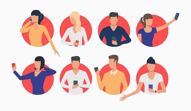 Set of young people using smartphones Free Vector
